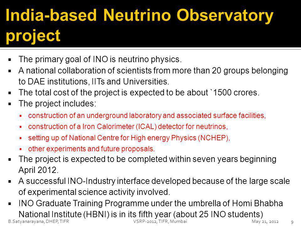  The primary goal of INO is neutrino physics.