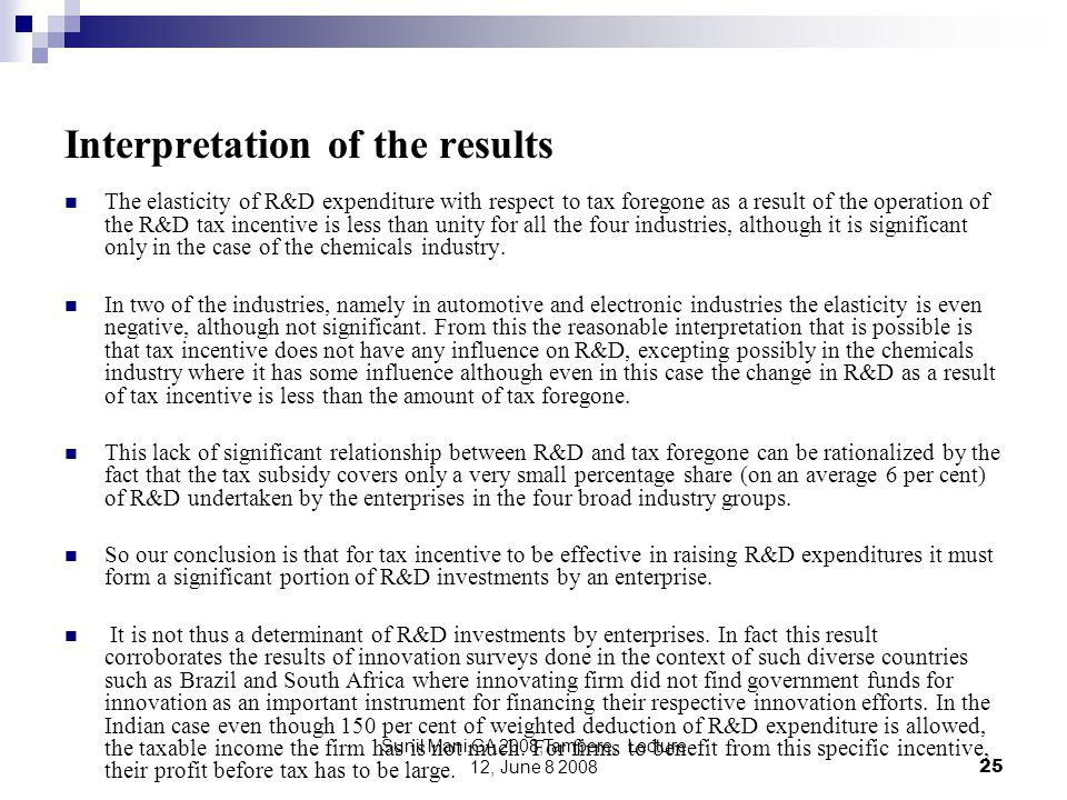 Sunil Mani,GA 2008,Tampere, Lecture 12, June 8 200825 Interpretation of the results The elasticity of R&D expenditure with respect to tax foregone as a result of the operation of the R&D tax incentive is less than unity for all the four industries, although it is significant only in the case of the chemicals industry.