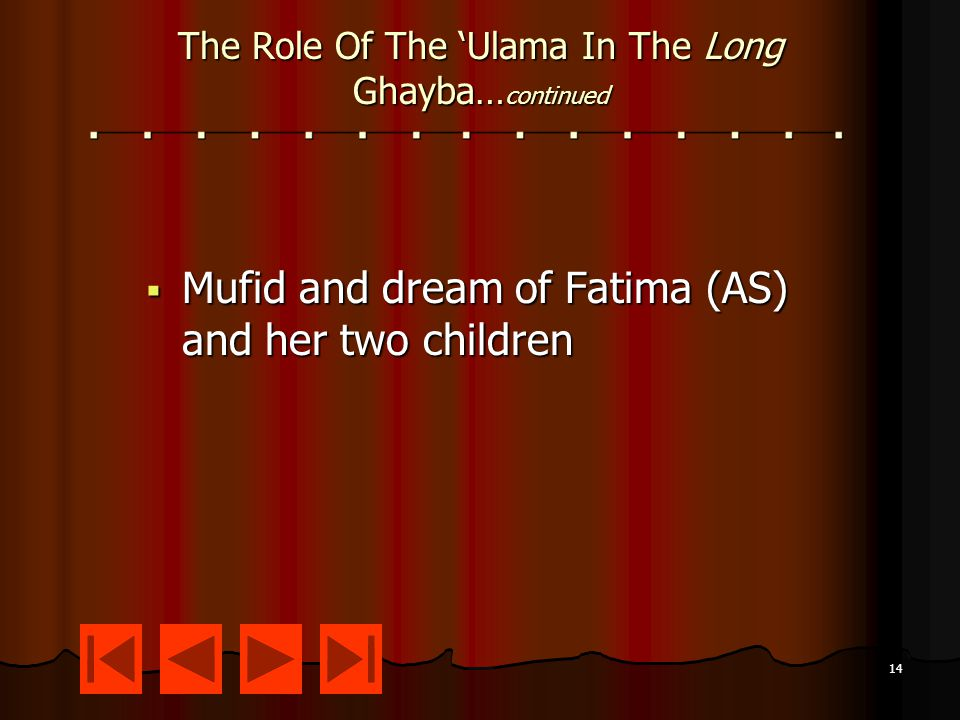 14 The Role Of The 'Ulama In The Long Ghayba… continued  Mufid and dream of Fatima (AS) and her two children