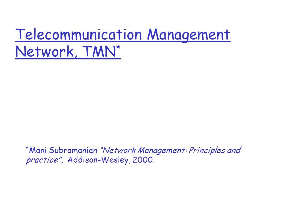 Telecommunication Management Network, TMN * * Mani Subramanian Network Management: Principles and practice , Addison-Wesley, 2000.