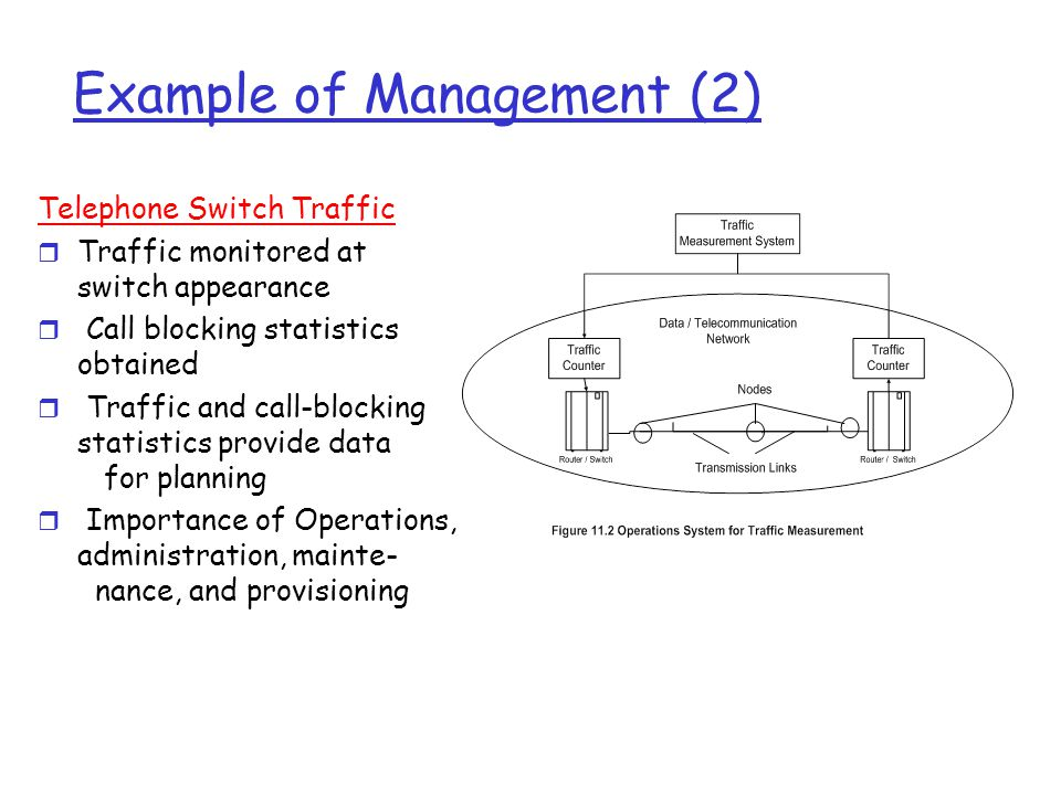 Example of Management (2) Telephone Switch Traffic r Traffic monitored at switch appearance r Call blocking statistics obtained r Traffic and call-blocking statistics provide data for planning r Importance of Operations, administration, mainte- nance, and provisioning