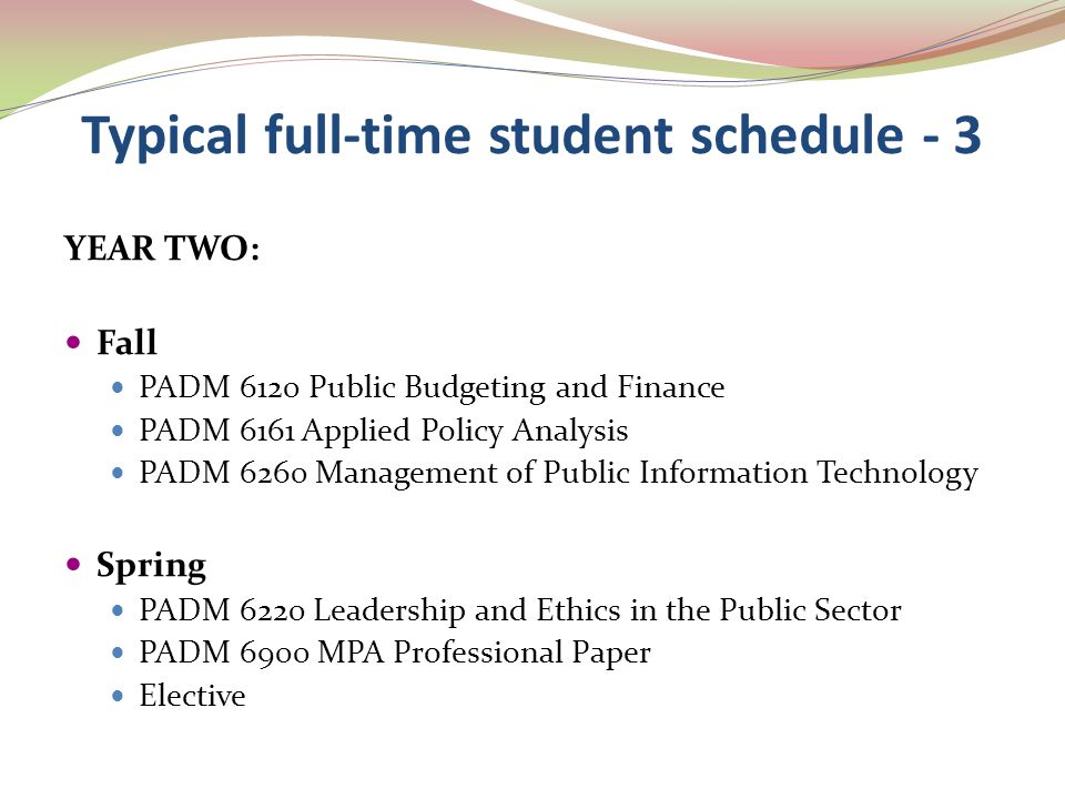 Typical full-time student schedule - 3 YEAR TWO: Fall PADM 6120 Public Budgeting and Finance PADM 6161 Applied Policy Analysis PADM 6260 Management of