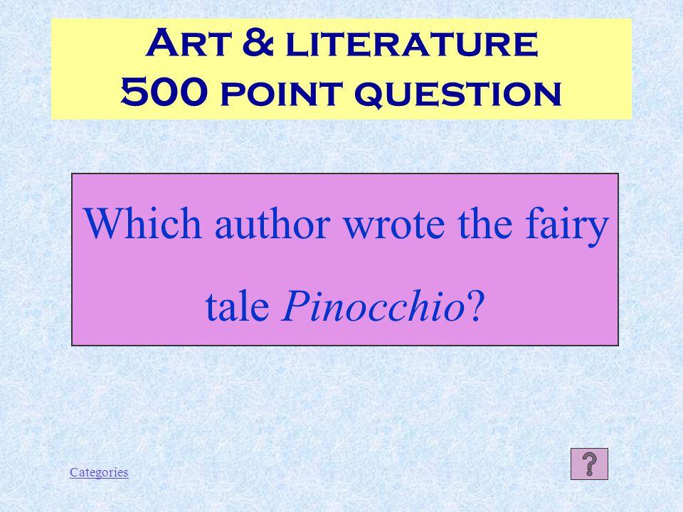 Categories Gabriele d'Annunzio Art & literature 400 Point answer