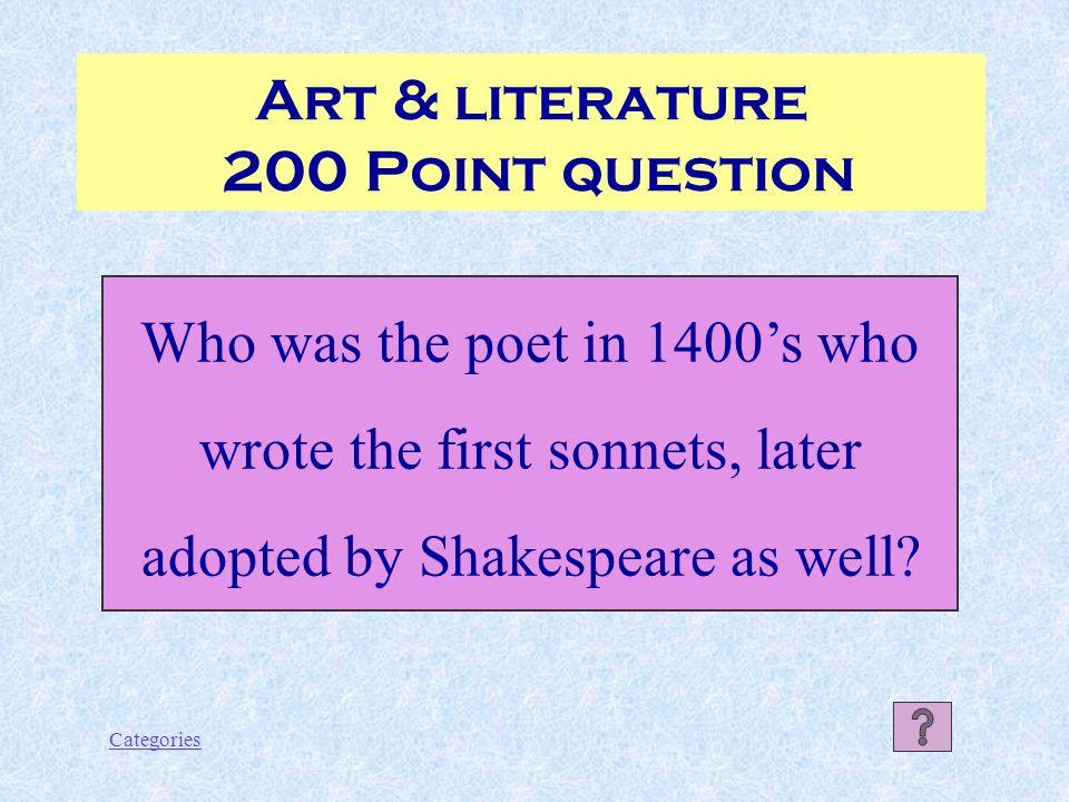 Categories Art & Literature 100 Point Answer The Uffizi