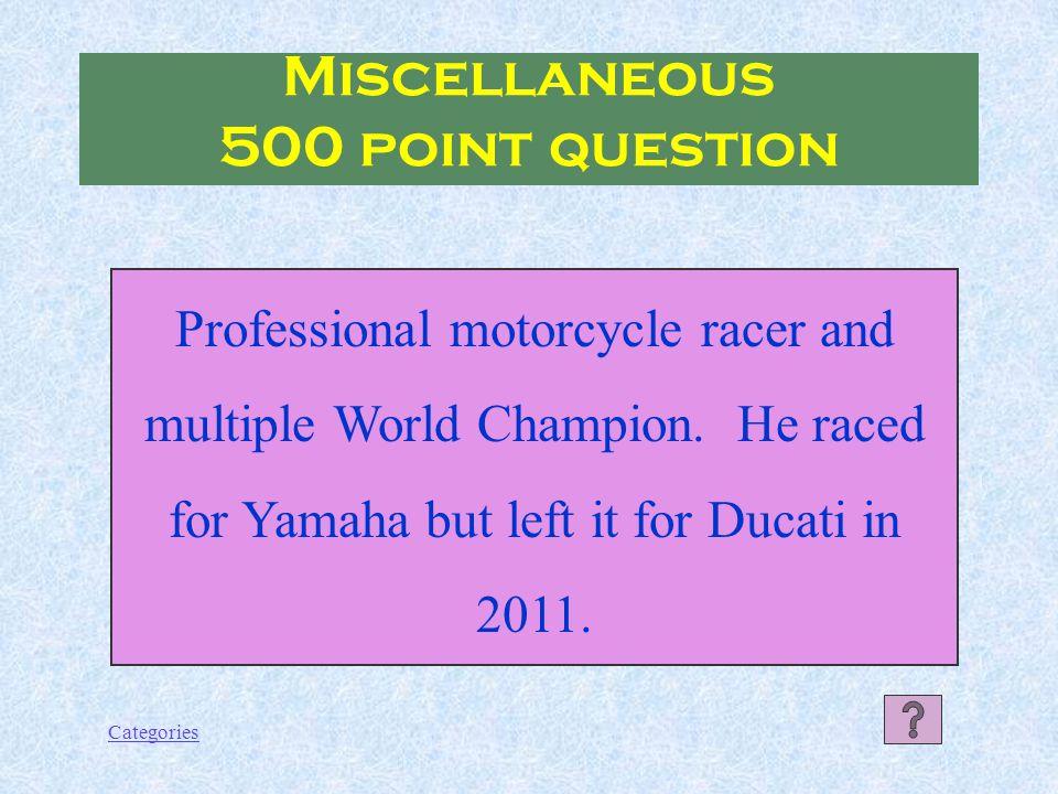 Categories Francesco Totti Miscellaneous 400 point Answer