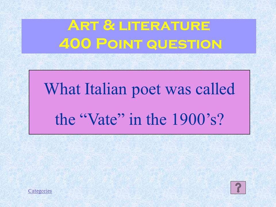 Categories Art & literature Response 300 Point answer Giulietta e Romeo (Romeo and Juliet)