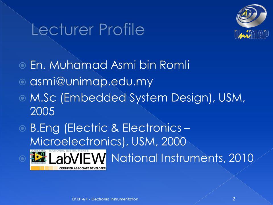  En. Muhamad Asmi bin Romli  asmi@unimap.edu.my  M.Sc (Embedded System Design), USM, 2005  B.Eng (Electric & Electronics – Microelectronics), USM,