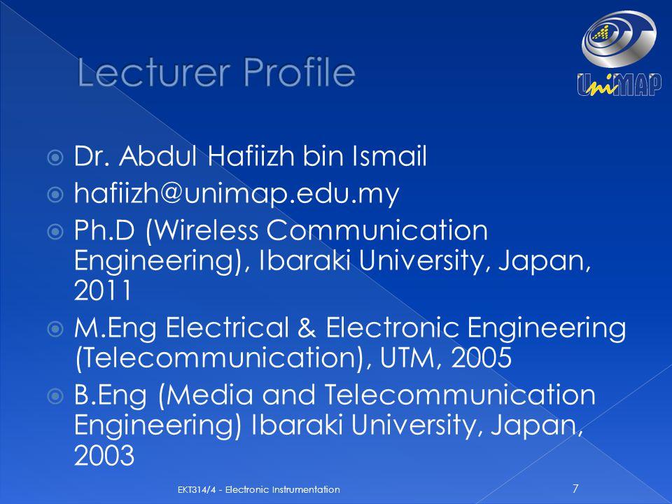  Dr. Abdul Hafiizh bin Ismail  hafiizh@unimap.edu.my  Ph.D (Wireless Communication Engineering), Ibaraki University, Japan, 2011  M.Eng Electrical