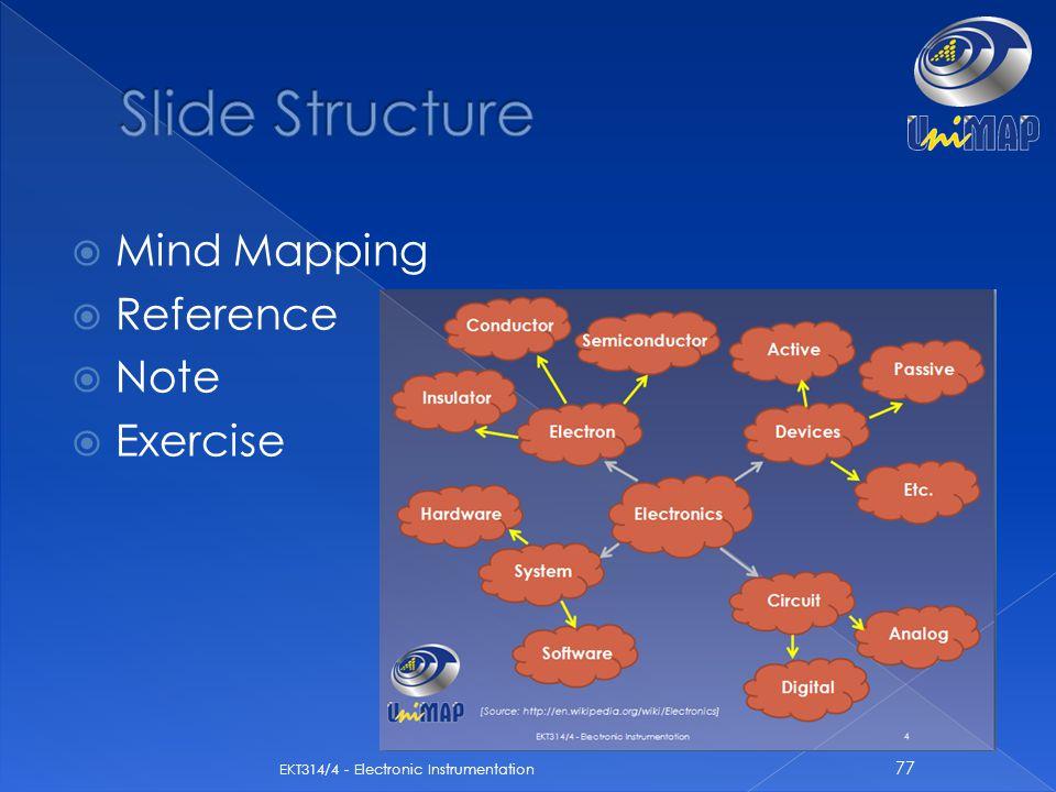  Mind Mapping  Reference  Note  Exercise 77 EKT314/4 - Electronic Instrumentation