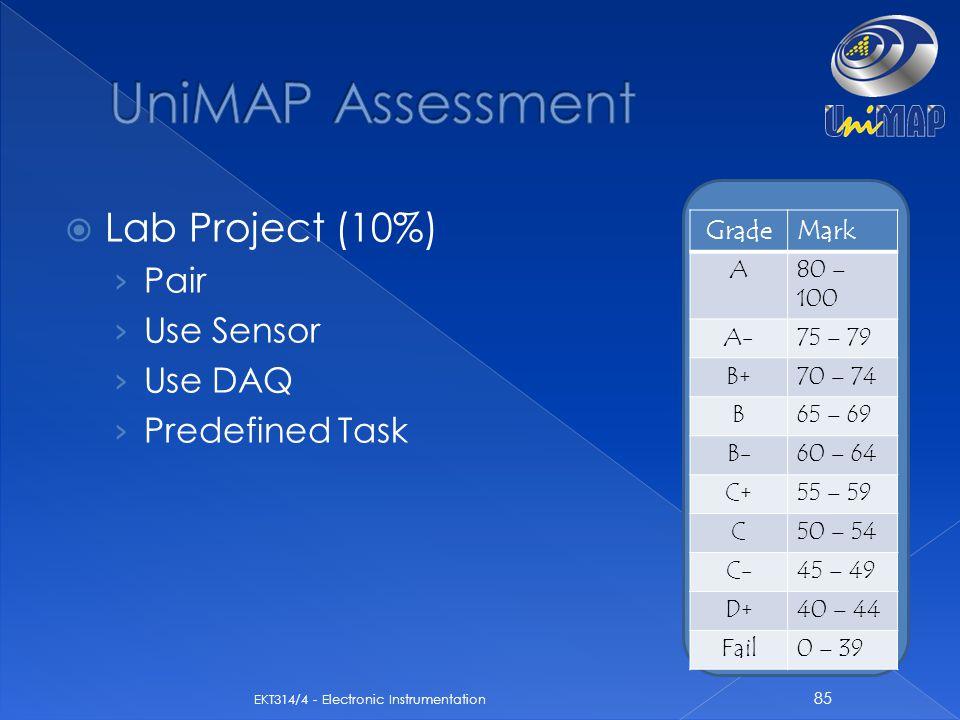  Lab Project (10%) › Pair › Use Sensor › Use DAQ › Predefined Task 85 EKT314/4 - Electronic Instrumentation GradeMark A80 – 100 A-75 – 79 B+70 – 74 B