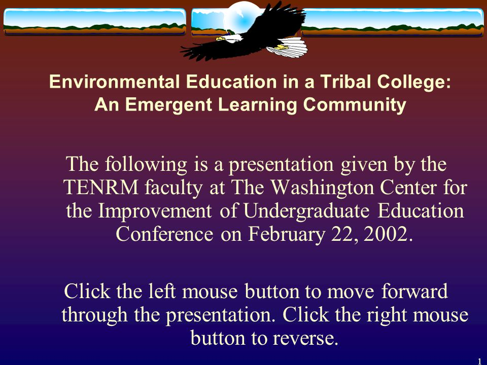 1 The following is a presentation given by the TENRM faculty at The Washington Center for the Improvement of Undergraduate Education Conference on February 22, 2002.