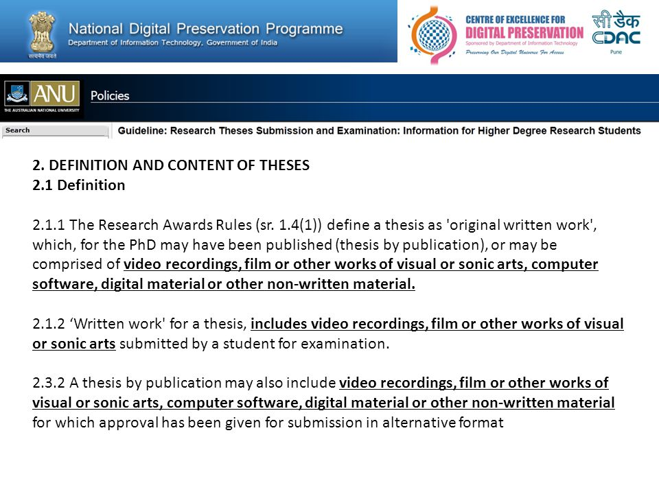 2. DEFINITION AND CONTENT OF THESES 2.1 Definition 2.1.1 The Research Awards Rules (sr.