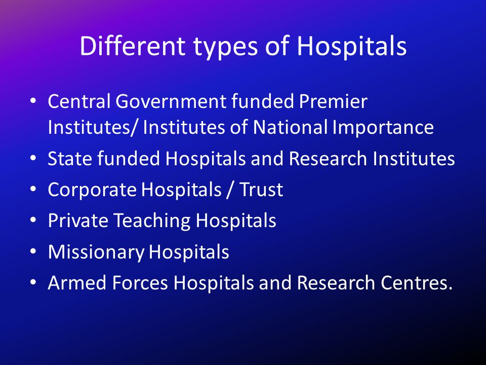 Different types of Hospitals Central Government funded Premier Institutes/ Institutes of National Importance State funded Hospitals and Research Insti