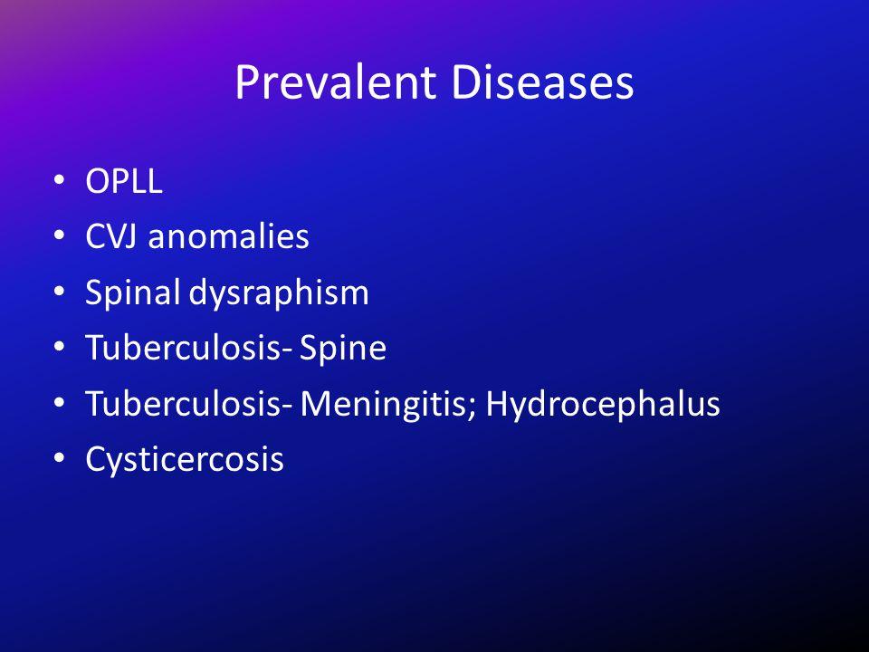 Prevalent Diseases OPLL CVJ anomalies Spinal dysraphism Tuberculosis- Spine Tuberculosis- Meningitis; Hydrocephalus Cysticercosis