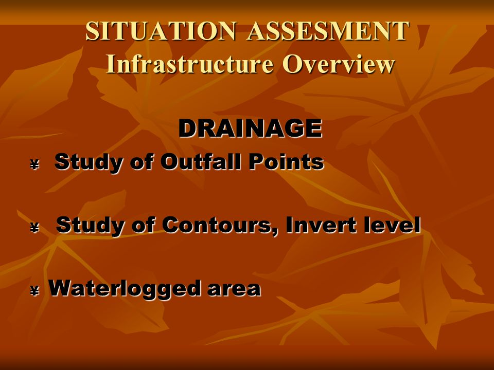 SITUATION ASSESMENT Infrastructure Overview SOLID WASTE MANAGEMENT Existing Vermi compost plant Existing Vermi compost plant Study of existing collection system Study of existing collection system Study of PPP Study of PPP