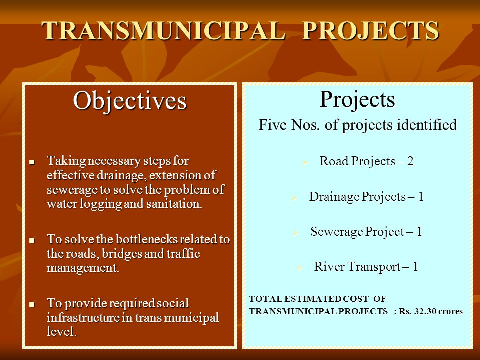 Name of projectCost in Rupees Source of Fund A Re-sectioning of Chandernagore Ditch 11.0 Crore JNNRUM B Extension of sewerage system 17.0 Crore JNNRUM C Construction of under-pass at Mankundu Railway Station 0.30 Crores TT Sector of KMDA (15 Lakh) Bhadreshwar Municipality (7.5Lakh) & CMC (7.5Lakh) D Widening of Khan Road 2.0 Crore TT Sector of KMDA (1.5 Crore) Bhadreshwar Municipality (2.5 Crore) & CMC (2.5 Crore) E Construction of permanent jetty ( Floating Barge ) at Ranighat 2.0 Crore Surface Transport Govt of W.B.