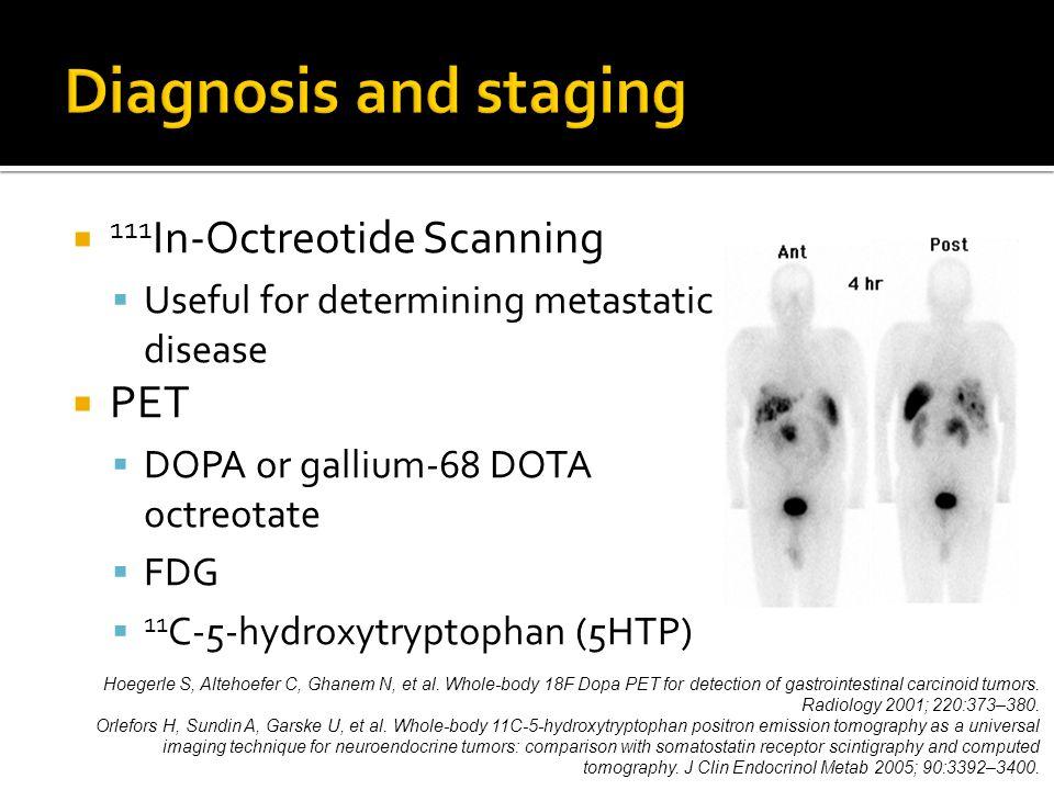 111 In-Octreotide Scanning  Useful for determining metastatic disease  PET  DOPA or gallium-68 DOTA octreotate  FDG  11 C-5-hydroxytryptophan (5HTP) Hoegerle S, Altehoefer C, Ghanem N, et al.