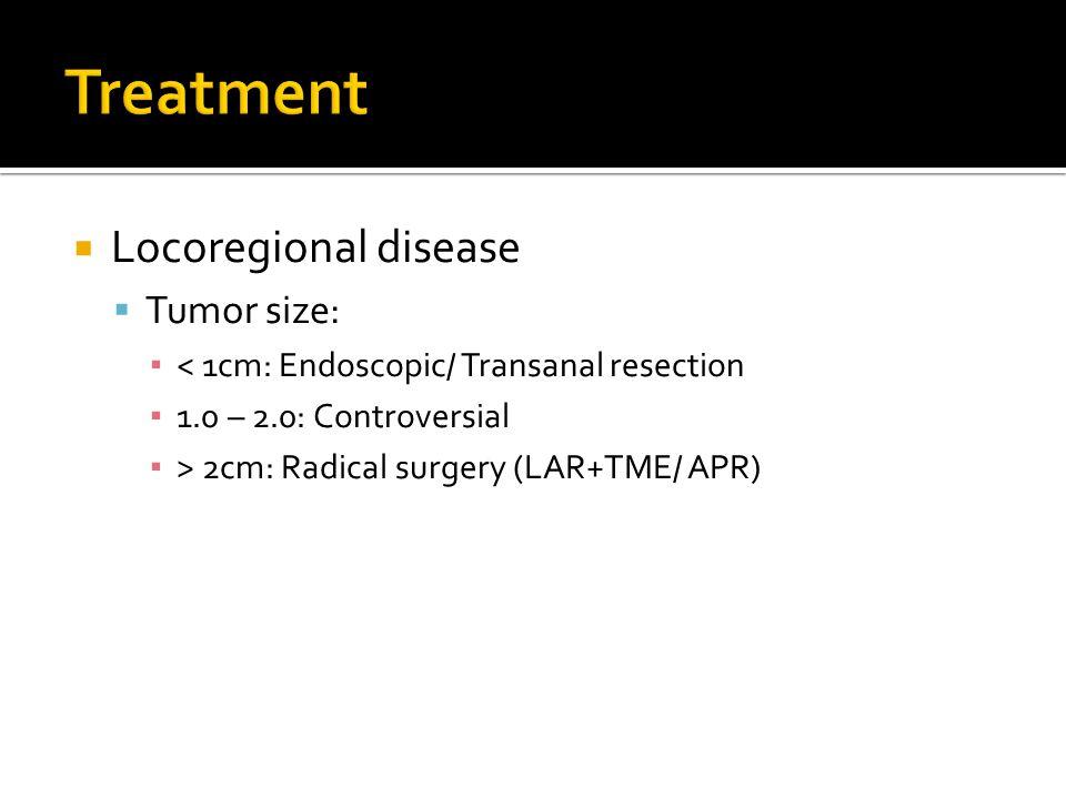  Locoregional disease  Tumor size: ▪ < 1cm: Endoscopic/ Transanal resection ▪ 1.0 – 2.0: Controversial ▪ > 2cm: Radical surgery (LAR+TME/ APR)