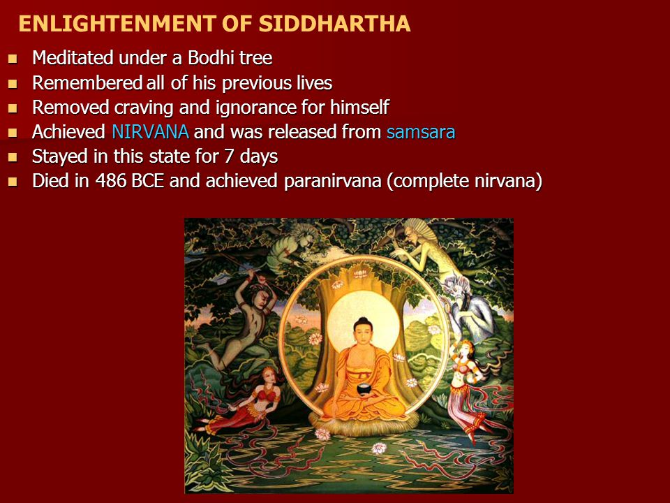 Meditated under a Bodhi tree Meditated under a Bodhi tree Remembered all of his previous lives Remembered all of his previous lives Removed craving and ignorance for himself Removed craving and ignorance for himself Achieved NIRVANA and was released from samsara Achieved NIRVANA and was released from samsara Stayed in this state for 7 days Stayed in this state for 7 days Died in 486 BCE and achieved paranirvana (complete nirvana) Died in 486 BCE and achieved paranirvana (complete nirvana) ENLIGHTENMENT OF SIDDHARTHA