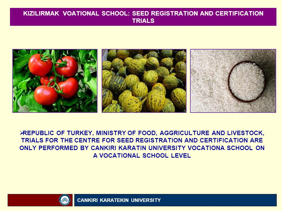 KIZILIRMAK VOATIONAL SCHOOL: SEED REGISTRATION AND CERTIFICATION TRIALS  REPUBLIC OF TURKEY, MINISTRY OF FOOD, AGGRICULTURE AND LIVESTOCK, TRIALS FOR THE CENTRE FOR SEED REGISTRATION AND CERTIFICATION ARE ONLY PERFORMED BY CANKIRI KARATIN UNIVERSITY VOCATIONA SCHOOL ON A VOCATIONAL SCHOOL LEVEL CANKIRI KARATEKIN UNIVERSITY