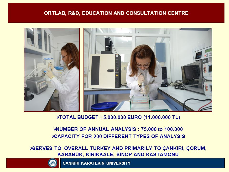 ORTLAB, R&D, EDUCATION AND CONSULTATION CENTRE  TOTAL BUDGET : 5.000.000 EURO (11.000.000 TL)  NUMBER OF ANNUAL ANALYSIS : 75.000 to 100.000  CAPACITY FOR 200 DIFFERENT TYPES OF ANALYSIS  SERVES TO OVERALL TURKEY AND PRIMARILY TO ÇANKIRI, ÇORUM, KARABÜK, KIRIKKALE, SİNOP AND KASTAMONU CANKIRI KARATEKIN UNIVERSITY