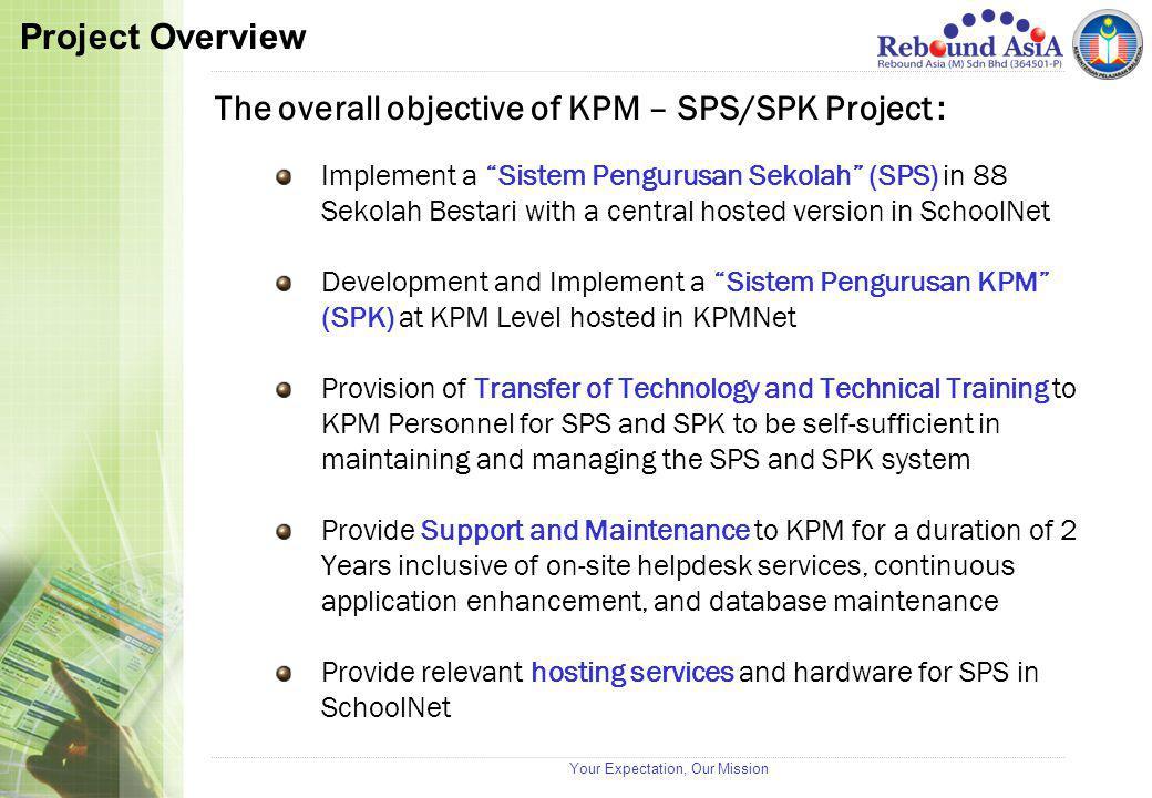 "Your Expectation, Our Mission The overall objective of KPM – SPS/SPK Project : Implement a ""Sistem Pengurusan Sekolah"" (SPS) in 88 Sekolah Bestari wit"