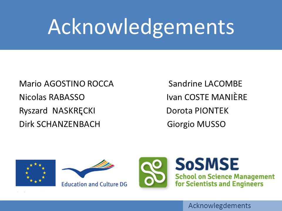 Acknowledgements Acknowlegdements Mario AGOSTINO ROCCA Sandrine LACOMBE Nicolas RABASSO Ivan COSTE MANIÈRE Ryszard NASKRĘCKI Dorota PIONTEK Dirk SCHANZENBACH Giorgio MUSSO