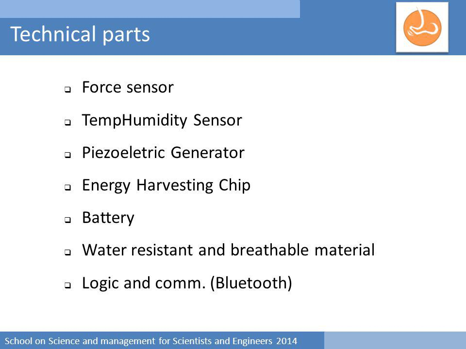 School on Science and management for Scientists and Engineers 2014 Technical parts  Force sensor  TempHumidity Sensor  Piezoeletric Generator  Energy Harvesting Chip  Battery  Water resistant and breathable material  Logic and comm.