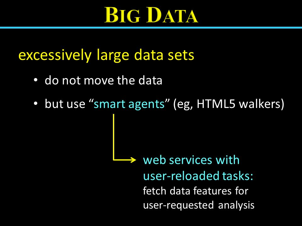 "excessively large data sets do not move the data but use ""smart agents"" (eg, HTML5 walkers) web services with user-reloaded tasks: fetch data features"