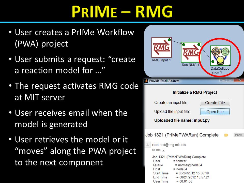 "User creates a PrIMe Workflow (PWA) project User submits a request: ""create a reaction model for …"" The request activates RMG code at MIT server User"
