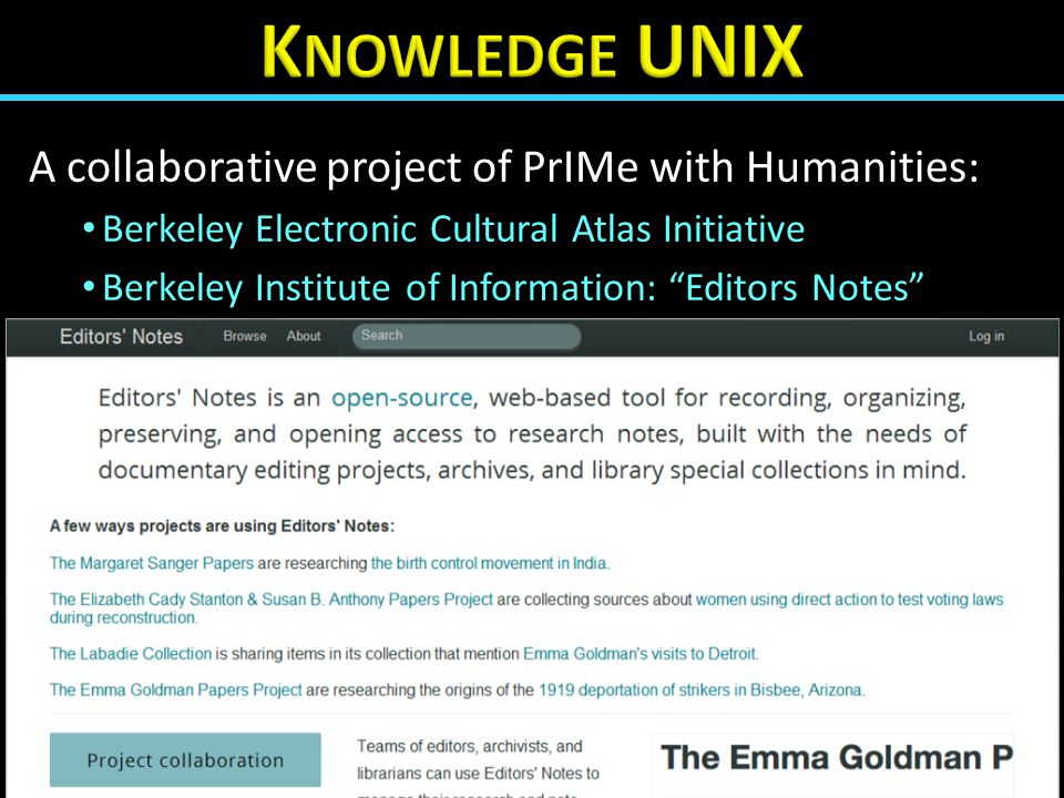 "A collaborative project of PrIMe with Humanities: Berkeley Electronic Cultural Atlas Initiative Berkeley Institute of Information: ""Editors Notes"""