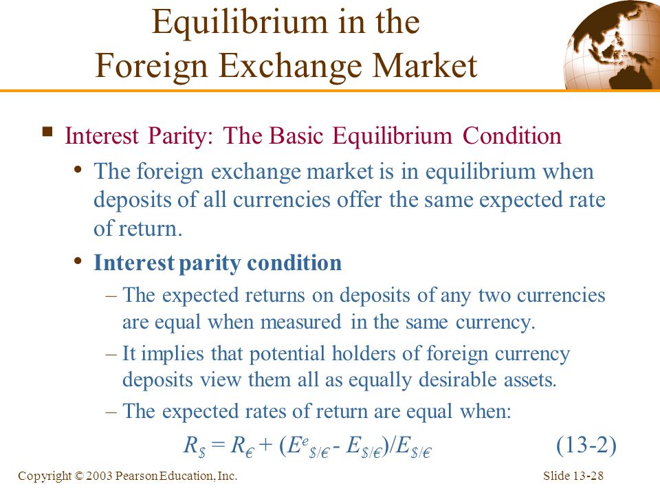 Slide 13-28Copyright © 2003 Pearson Education, Inc. Equilibrium in the Foreign Exchange Market  Interest Parity: The Basic Equilibrium Condition The