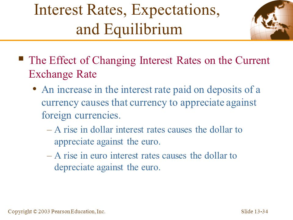 Slide 13-34Copyright © 2003 Pearson Education, Inc.  The Effect of Changing Interest Rates on the Current Exchange Rate An increase in the interest r