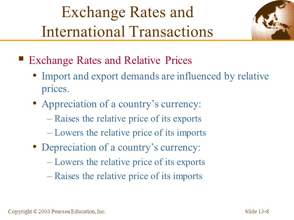 Slide 13-8Copyright © 2003 Pearson Education, Inc.  Exchange Rates and Relative Prices Import and export demands are influenced by relative prices. A