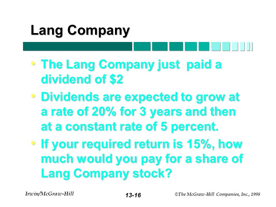 13-15 Irwin/McGraw-Hill © The McGraw-Hill Companies, Inc., 1998 Shifting growth Value at t = 0 D1D1 D2D2 D3D3 Value at time T DTDT ……...