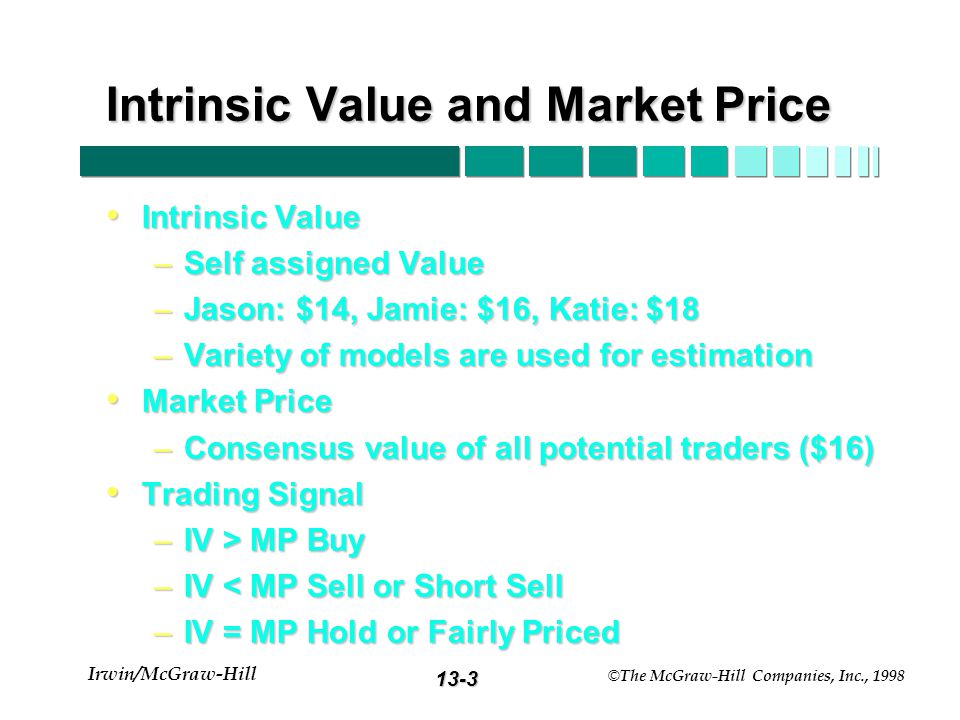 13-3 Irwin/McGraw-Hill © The McGraw-Hill Companies, Inc., 1998 Intrinsic Value and Market Price Intrinsic Value Intrinsic Value –Self assigned Value –Jason: $14, Jamie: $16, Katie: $18 –Variety of models are used for estimation Market Price Market Price –Consensus value of all potential traders ($16) Trading Signal Trading Signal –IV > MP Buy –IV < MP Sell or Short Sell –IV = MP Hold or Fairly Priced