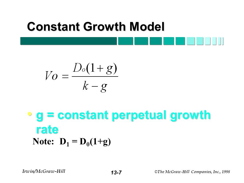 13-7 Irwin/McGraw-Hill © The McGraw-Hill Companies, Inc., 1998 Constant Growth Model g = constant perpetual growth rate g = constant perpetual growth rate Note: D 1 = D 0 (1+g)