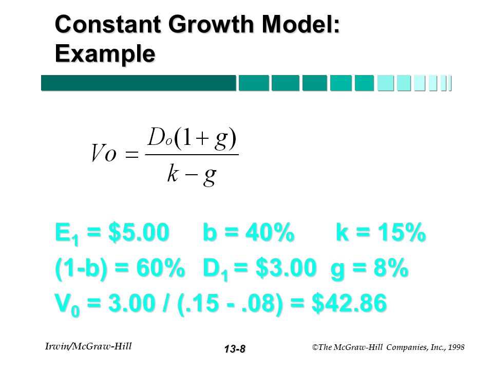 13-7 Irwin/McGraw-Hill © The McGraw-Hill Companies, Inc., 1998 Constant Growth Model g = constant perpetual growth rate g = constant perpetual growth