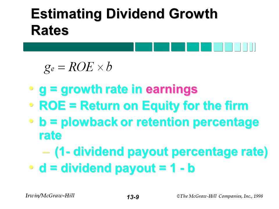 13-8 Irwin/McGraw-Hill © The McGraw-Hill Companies, Inc., 1998 Constant Growth Model: Example E 1 = $5.00b = 40% k = 15% (1-b) = 60%D 1 = $3.00 g = 8% V 0 = 3.00 / (.15 -.08) = $42.86