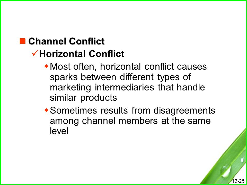 13-25 Channel Conflict Channel Conflict Horizontal Conflict  Most often, horizontal conflict causes sparks between different types of marketing inter