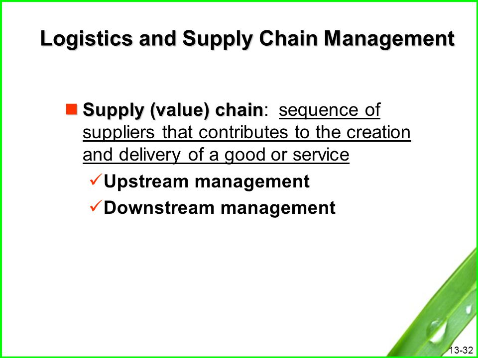 13-32 Logistics and Supply Chain Management Supply (value) chain Supply (value) chain: sequence of suppliers that contributes to the creation and deli