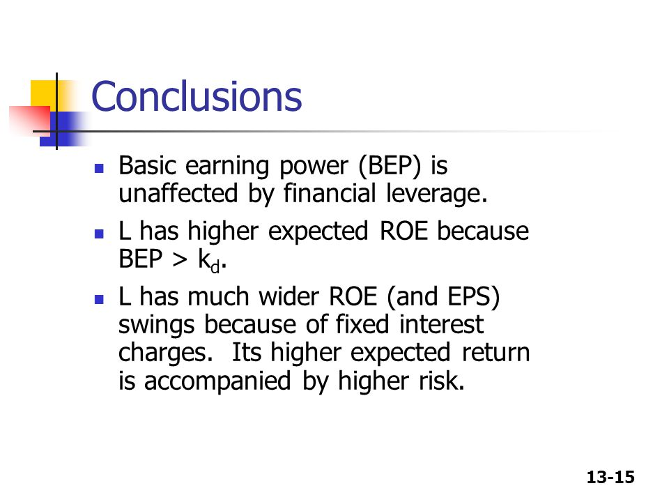 13-15 Conclusions Basic earning power (BEP) is unaffected by financial leverage.