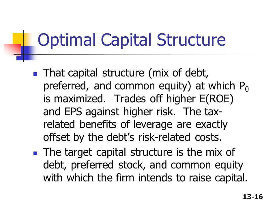 13-16 Optimal Capital Structure That capital structure (mix of debt, preferred, and common equity) at which P 0 is maximized.