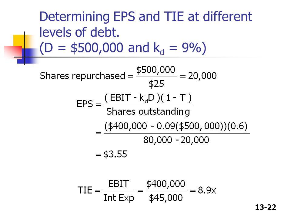 13-22 Determining EPS and TIE at different levels of debt. (D = $500,000 and k d = 9%)