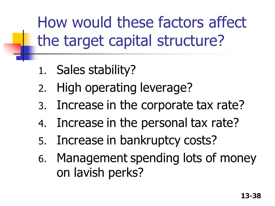 13-38 How would these factors affect the target capital structure.