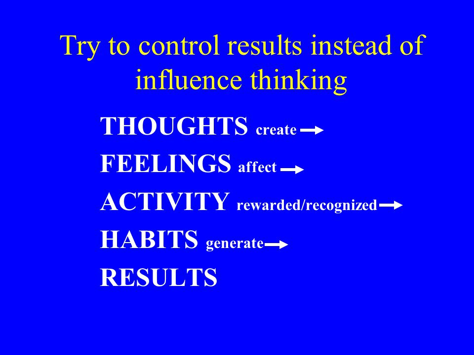 Try to control results instead of influence thinking (cont'd) Questions people ask when confronted with a new challenge: Can I succeed.