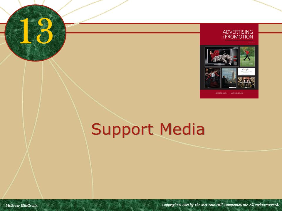 Support Media 13 McGraw-Hill/Irwin Copyright © 2009 by The McGraw-Hill Companies, Inc. All rights reserved.