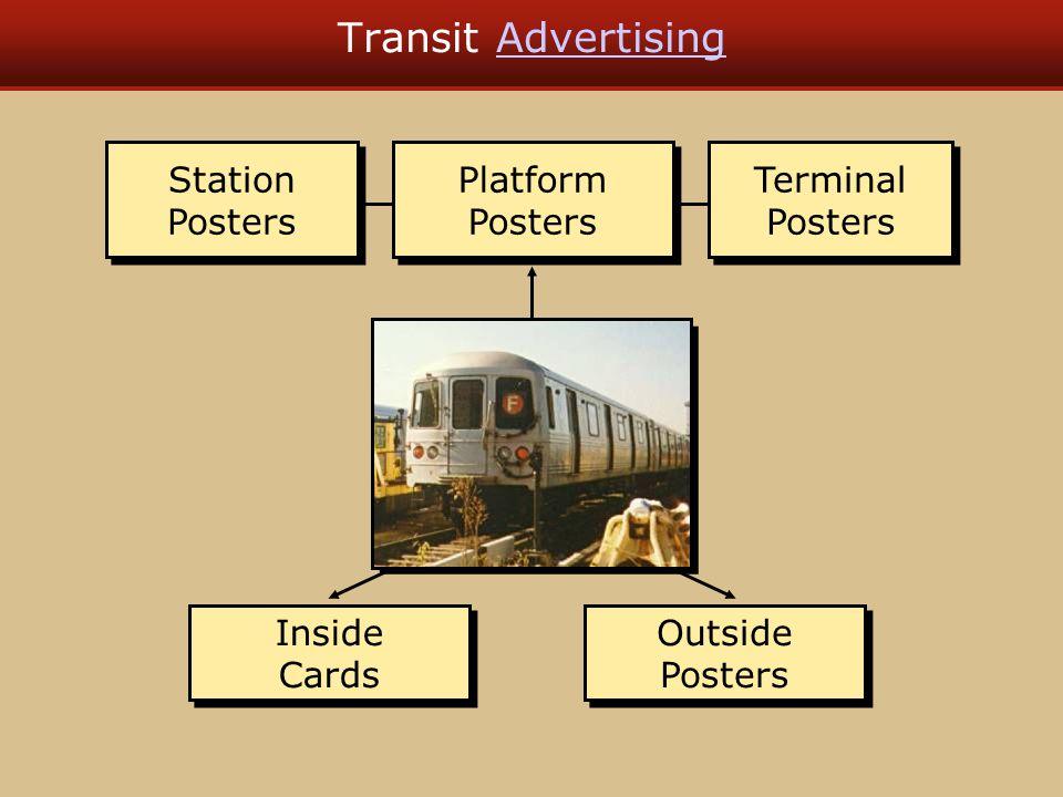 Transit AdvertisingAdvertising Terminal Posters Terminal Posters Station Posters Station Posters Platform Posters Platform Posters Outside Posters Outside Posters Inside Cards Inside Cards