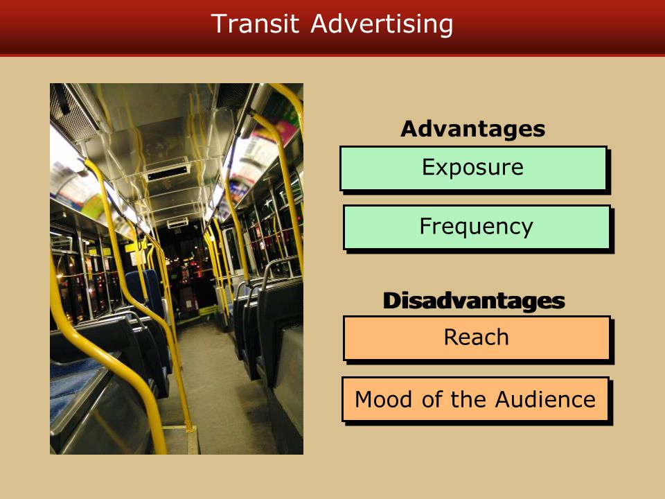 Transit Advertising Exposure Frequency Advantages Reach Mood of the Audience Disadvantages