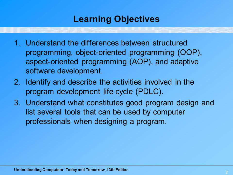 Understanding Computers: Today and Tomorrow, 13th Edition 43 Common Programming Languages COBOL: Designed for business transaction processing –Makes extensive use of modules and submodules –Being phased out in many organizations –Evolving (COBOL.NET)